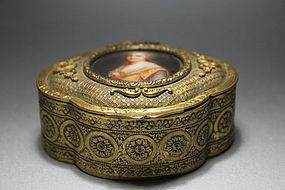 Antique French Gilt Bronze Dresser Box, 19th C.