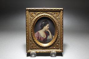 Beautiful Antique Miniature Portrait Painting.