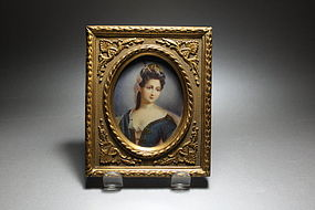 Beautiful Antique Miniature Portrait Painting.