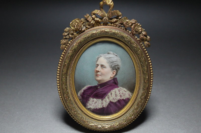 Antique Miniature Portrait Painting, 19th C.