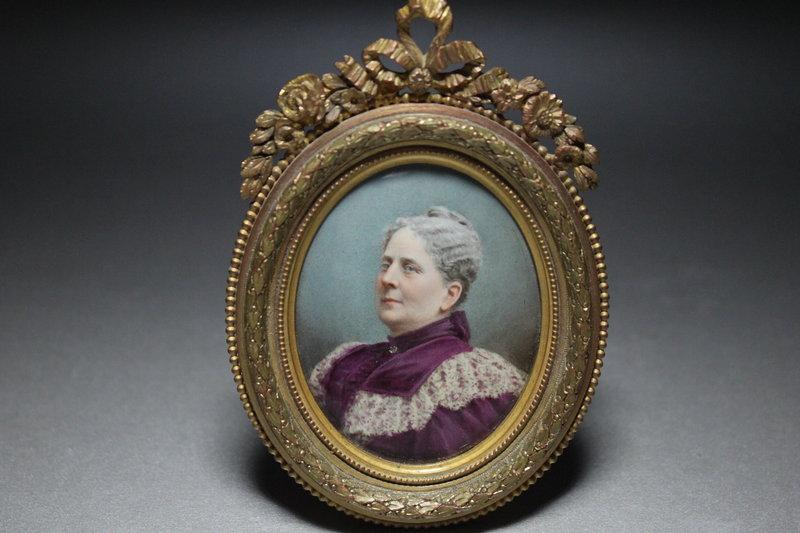 Antique Miniature Portrait Painting, 19th C.