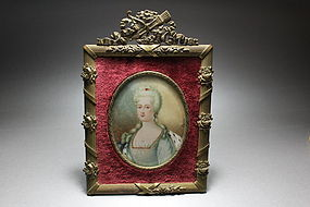 Antique French Miniature Portrait Painting, 19th C.