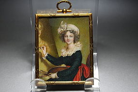Antique Miniature Portrait Painting of Madame Lebrun,