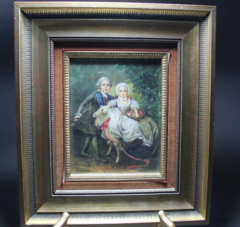 Superb French Miniature Portrait Painting. 19th C.