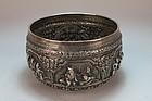 Striking Burmese Silver Bowl, 19th c.