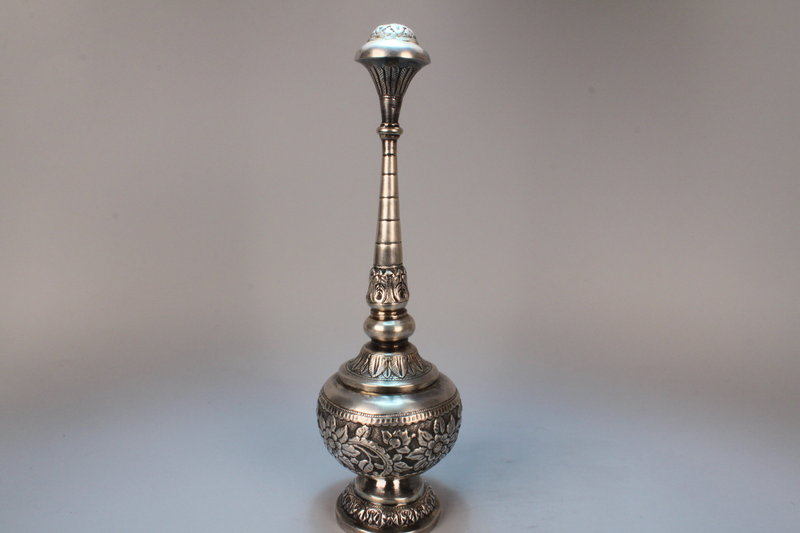 Tall Persian silver Rosewater Spice Tower, Early 20th C