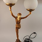 Art Deco Style Gilt Decorated Composition Figural Lamp
