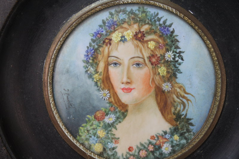 Vintage French Miniature Portrait Painting.