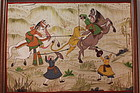 Beautiful Mughal Style Gilt Gouache Painting, Mid 20th