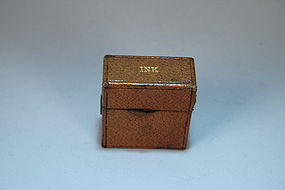 Antique Victorian Leather Travel Inkwell, 19th C.