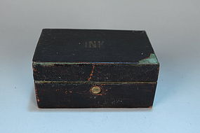 Large Antique Victorian Leather Travel Inkwell, 19th C.