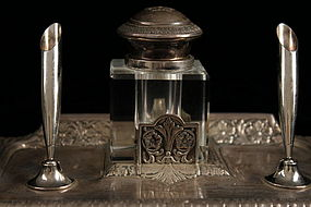 Striking Antique German silver Inkstand, 19th c.