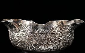 Beautiful Indian Hand Crafted Silver Dish, Ear 20th C.