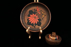 Appealing Old Japanese Wooden Lidded Box and Plate.
