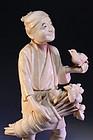 Japanese Carved Ivory Okimono, Meiji Period.
