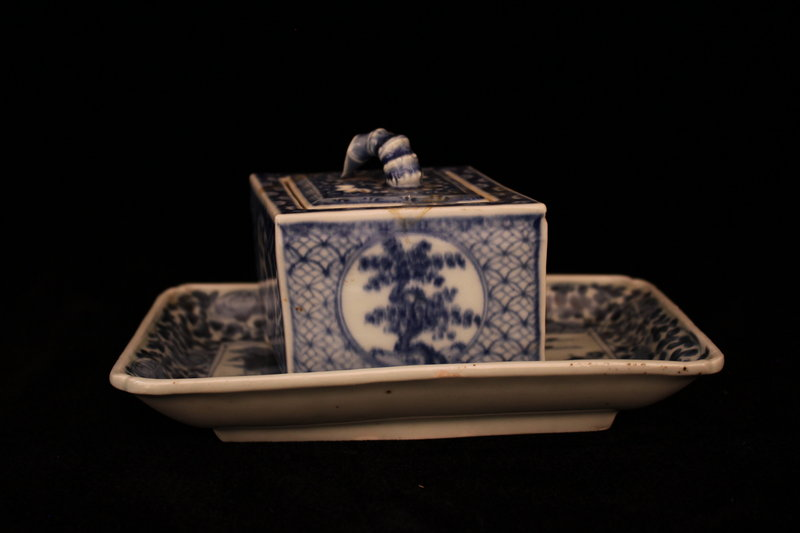 Antique Japanese Seto Ware Tray and Box.