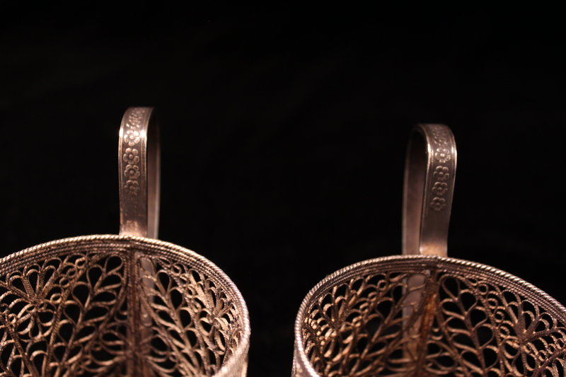 Pair of Persian Silver Filigree Cup Holder.