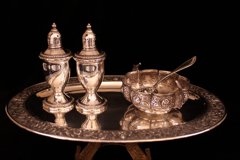 Antique Set of Repousse Sterling Silver Set, 19th c.