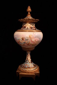Superb French Louis XV Style Porcelain Covered Urn,