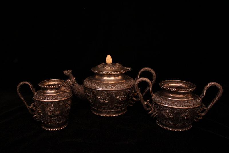 Antique Burmese Silver Tea/Coffee Set, Ear 20th C.
