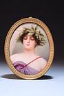 Antique Miniature Portrait on Porcelain, Earl 20th c.
