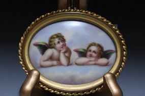 Antique Miniature Portrait on Porcelain, Earl 20th c.