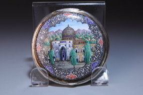 Large Persian Silver-Enameled Compact, Mid 20th C.