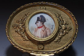 French Bronze Box & Miniature Portrait Painting, 19th C.