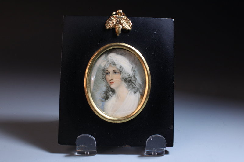 English School (18/19th C.) Miniature Portrait Painting.
