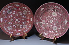 Pair of Chinese Hand Painted Enameled Porcelain Plates,