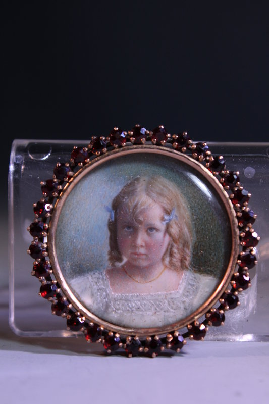 10K Gold Brooch w/ Miniature Portrait Painting.