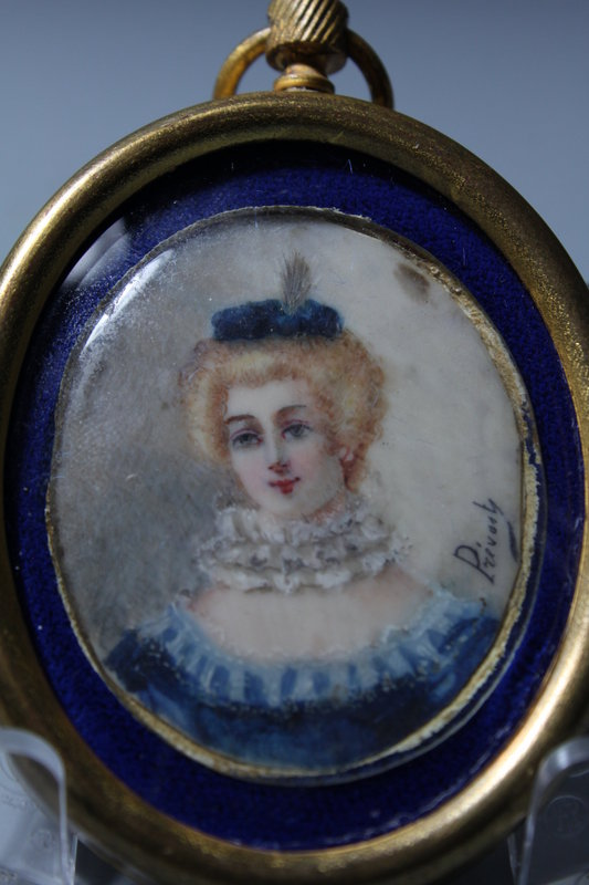 19c French Miniature Portrait Painting.