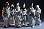 Six 19th Century Chinese Pottery Immortal Figures,