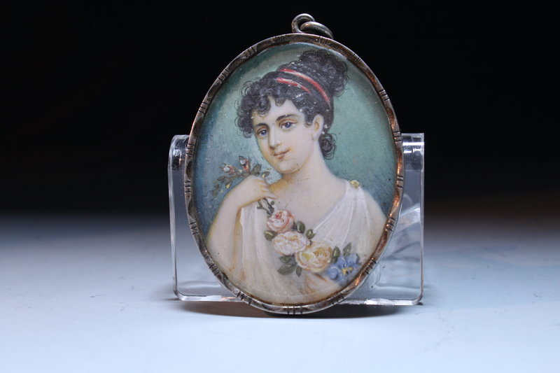 19th C. Miniature Painting, Silver Frame.