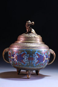 Antique Chinese Cloisonne-Bronze Censer with Dragon Lid