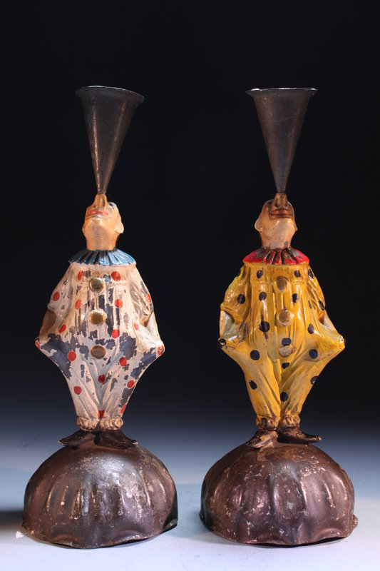 Pair of Antique Whimsical Candle Holders, Earl 20th c.