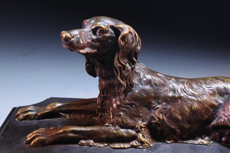 Fabulous Antique Bronze Dog Sculpture, Earl 20th c.