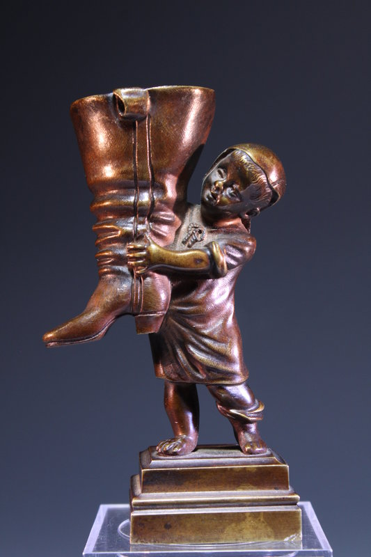 Incredible Miniature Bronze Figure, Early 20th c.