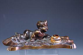 Fabulous Bronze Figure, Early 20th c.