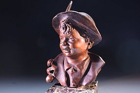 19th c. Superb Bronze Figure of a Young Lad in Hat,