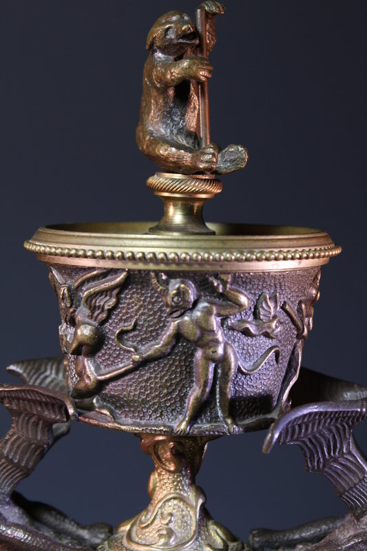 Continental Patinated-Bronze Novelty Lamp,