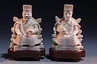 CHINESE CARVED IVORY EMPEROR & EMPRESS FIGURES