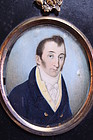 19 TH C.WATERCOLOR MINIATURE PORTRAIT PAINTING OF A GENTLEMAN,