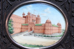 SUPERB MINIATURE PAINTINGS ON IVORY, RED FORT.
