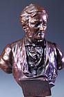 European Bronze Bust of Musician,