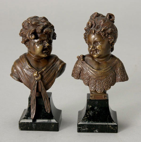 Miniature Pair Continental Bronze Busts of Children