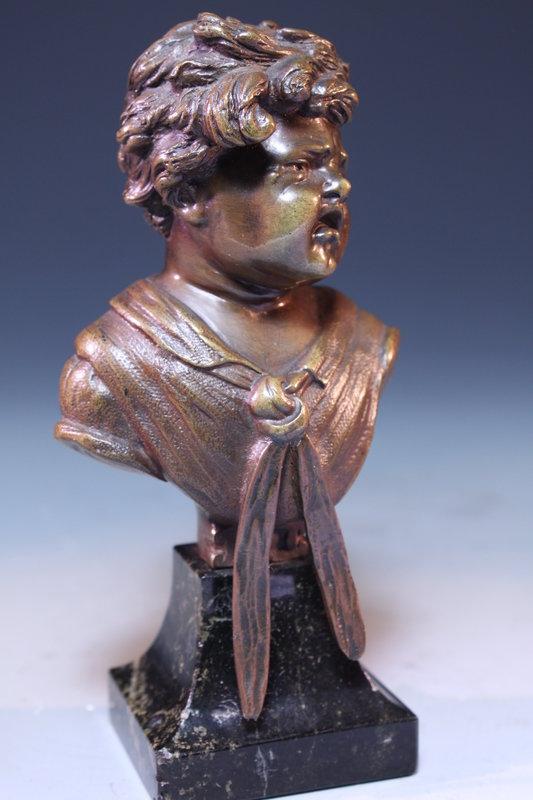 Miniature Pair Continental Bronze Busts of  Children.