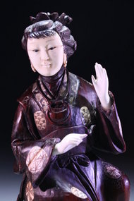 19th c. Chinese carved wood lady with ivory face,