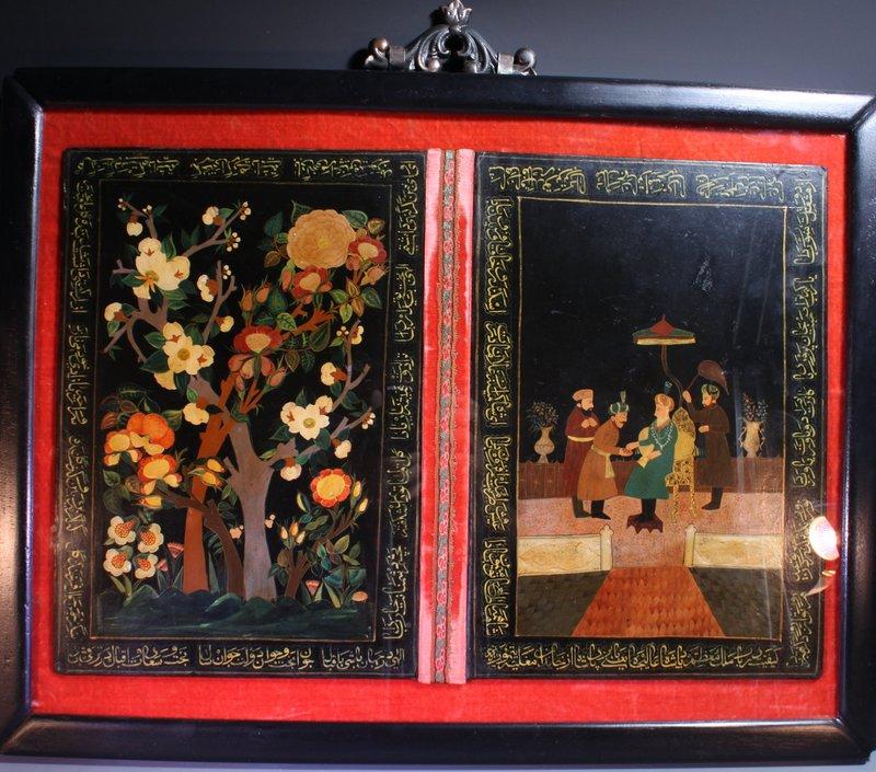 Antique Manuscript Cover, Indian Mughal Empire,