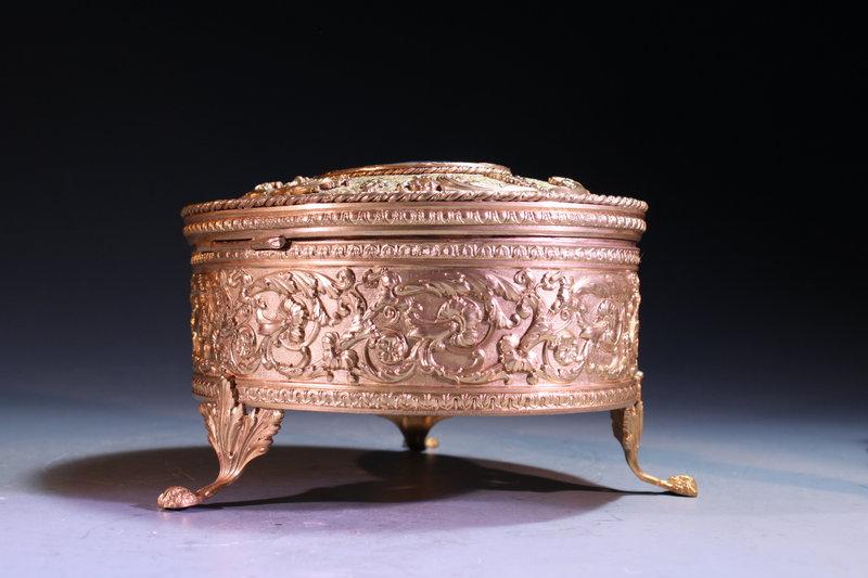 French Gilt Metal Jewelry Cask,